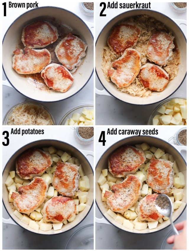 A collage showing the process, step by step, of how to make the recipe. First brown the pork chops, then add the sauerkraut, the potatoes, and the  caraway seeds, then cover and bake!