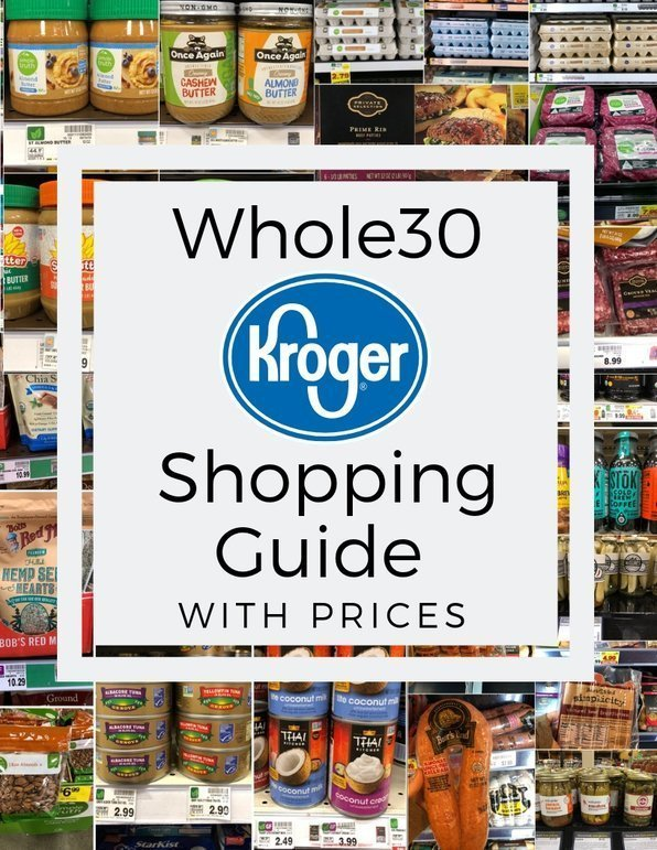 """Collage of photos of groceries with the text, """"Whole30 Kroger Shopping Guide with Prices"""""""