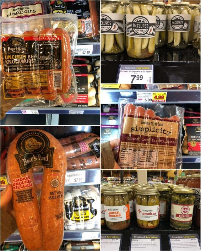 Collage of photos of deli items.