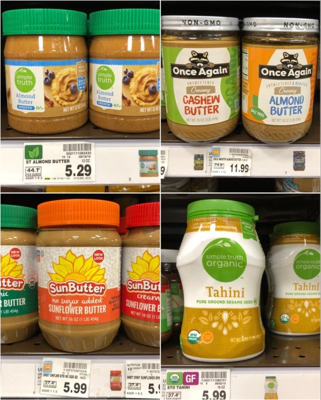 A collage of Whole30 compliant nut butters available at Kroger.