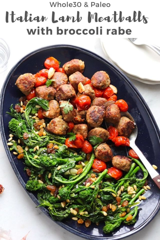 "The finished dish plated with the words, ""Italian Lamb Meatballs with Broccoli Rabe"" for Pinterest."