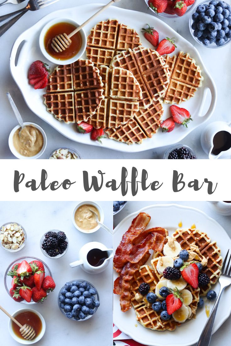 """A collage of images showing the ingredients and finished waffles laid out on a bar with the words """"Paleo Waffle Bar"""" for Pinterest."""