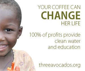 """A graphic with the words """"Your coffee can change her life: 100% of profits provide clean water and education"""""""