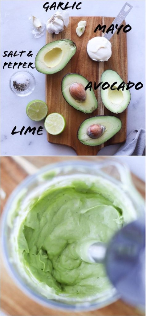 A collage showing the ingredients in Avocado Aioli laid on a white marble board and a close up shot of the ingredients mixed with an immersion blender.