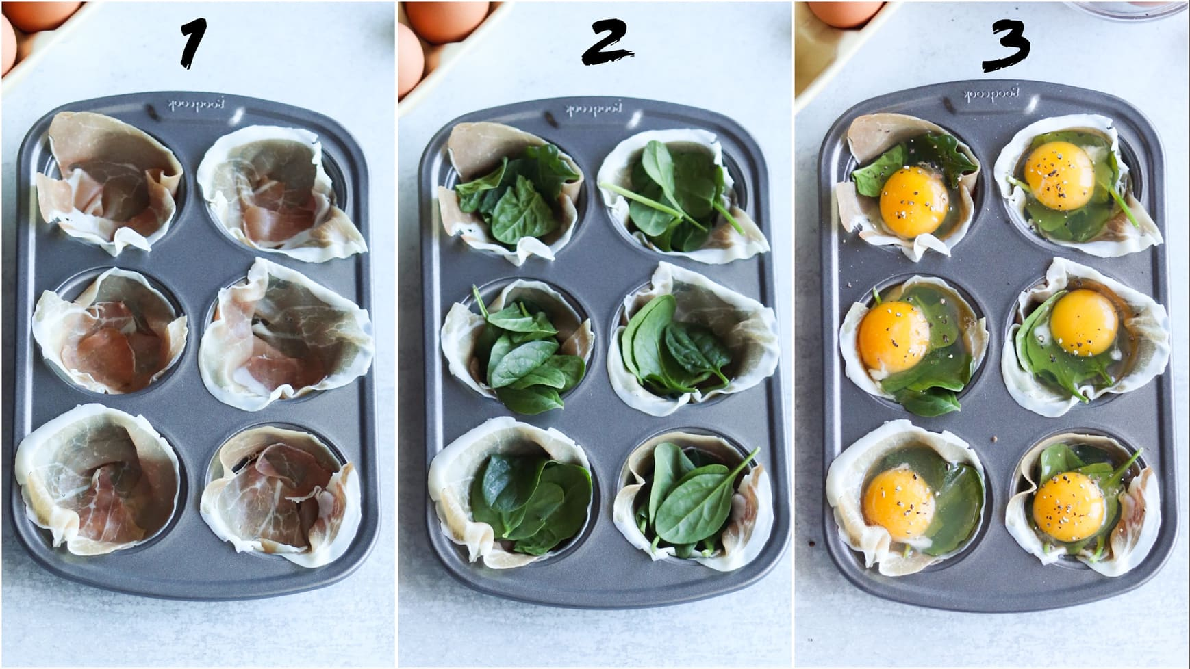 Collage showing step by step process to make the prosciutto egg cups before putting them in the air fryer. First, lay the prosciutto inside each cup, then add spinach, then add eggs.