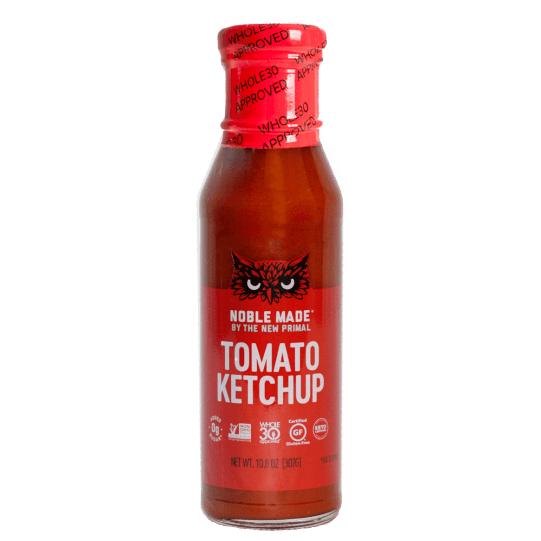 Close up of The New Primal's Whole30 Approved sugar free ketchup.