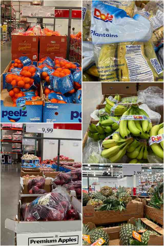 A collage of different fruits in large boxes at Costco.