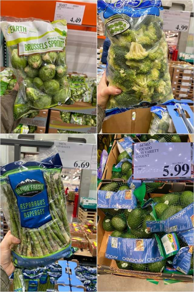 A collage of photos of packages of vegetables at Costco.