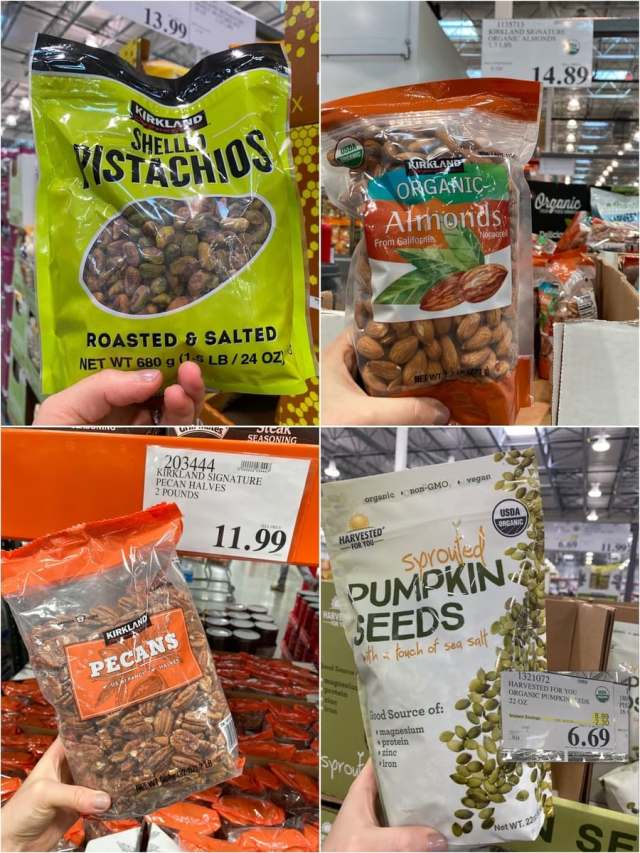 A collage of Whole30 compliant nuts and seeds with prices at Costco.