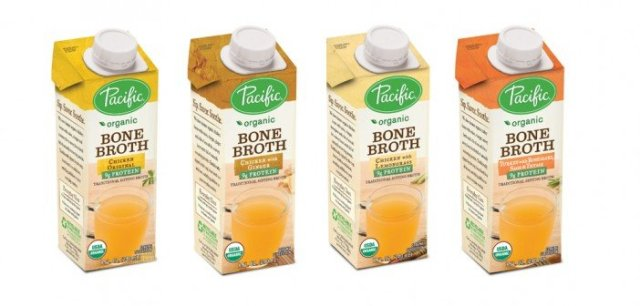 Four boxes of pacific bone broths.