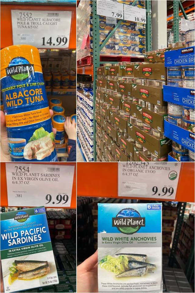 A collage of different varieties of canned tuna at Costco.