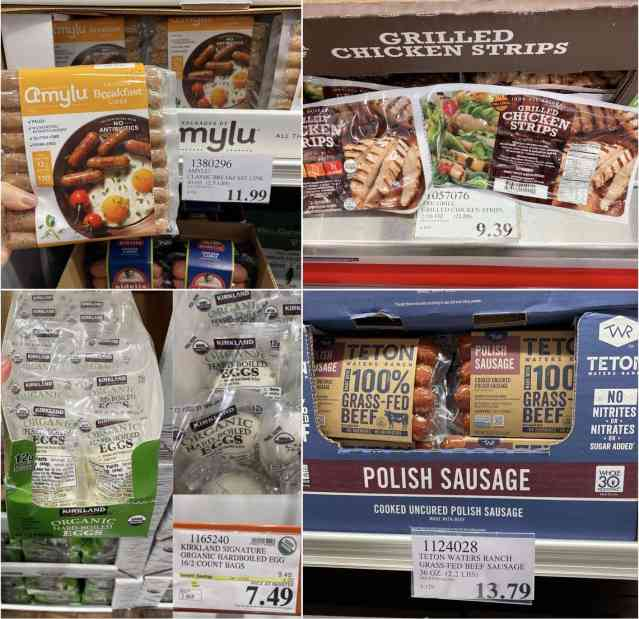 A collage of photos of Whole30 compliant packaged meats available at Costco.