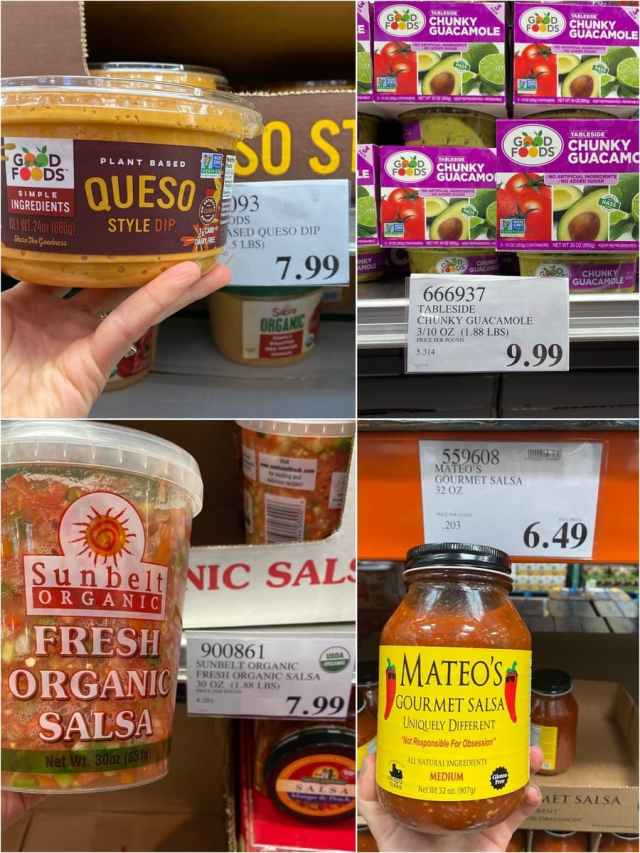 A collage of photos of Whole30 compliant salsa, guacamole, and queso being held in hands at Costco.