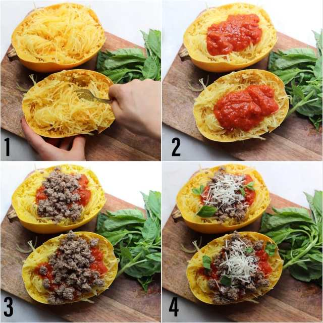 Step by step process showing the spaghetti squash dish being assembled.