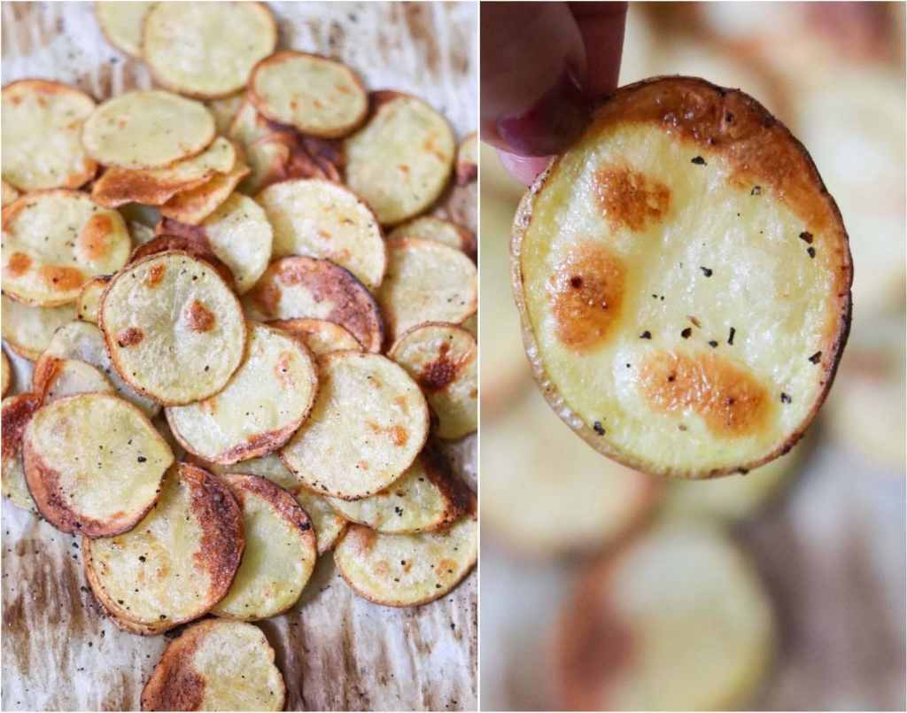 Close up of homemade roasted potato chips on a baking sheet.