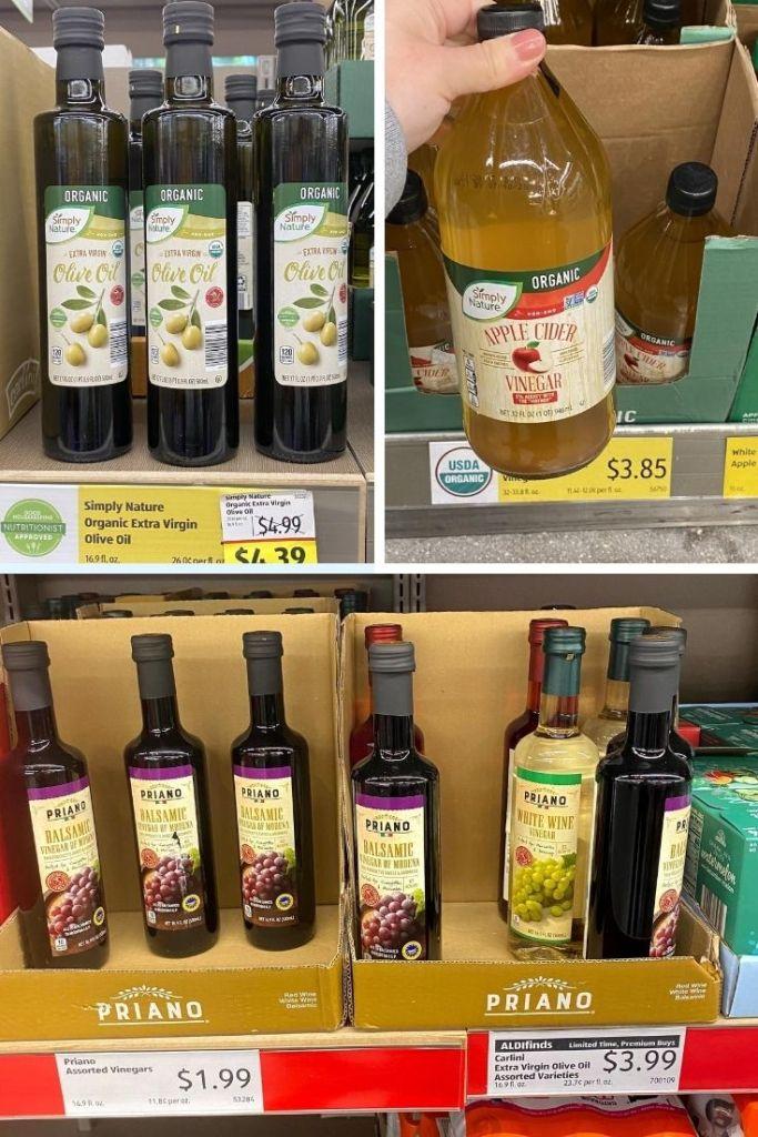 Bottles of Orange Oil Oil for $4.39, Apple Cider Vinegar labeled $3.85, and Balsamic vinegar for $1.99.