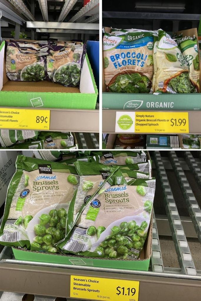 Frozen vegetables in the freezer aisle at Aldi - bags of broccoli for $.89, bags of organic broccoli for $1.99, and bags of Brussels sprouts for $1.19.