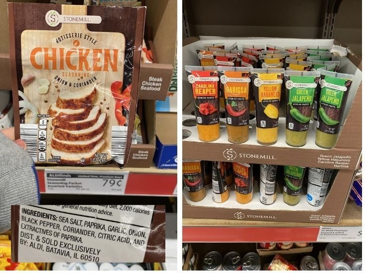 A packet of chicken seasoning for $.79 and squeeze bottles of spicy pepper sauce.