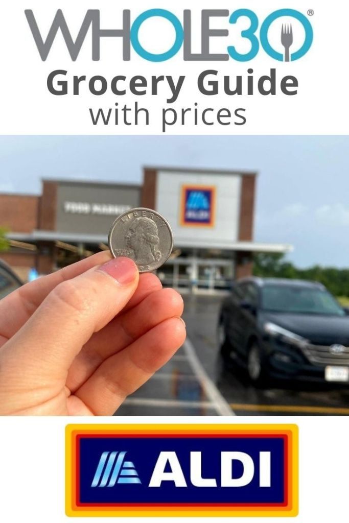 """A photo of a hand holding up a quarter in front of an Aldi Store with the words """"Whole30 Grocery Guide with Prices"""" for Pinterest."""