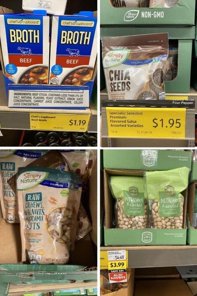 Cartons of beef bone broth labeled at $1.19, bags of chia seeds for $1.95, raw mixed nuts, and pistachios for $3.99 at Aldi.
