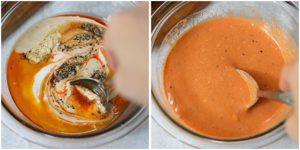 Collage showing the ingredients in the buffalo ranch sauce added to a small glass bowl, then fully mixed together with a spoon.