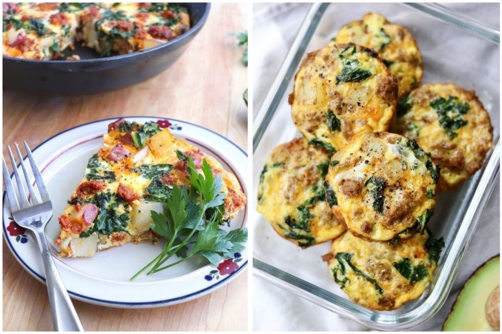 A collage showing a slice of the cooked frittata made in a skillet served on a plate, and the frittata cooked in muffin tins inside a glass container.