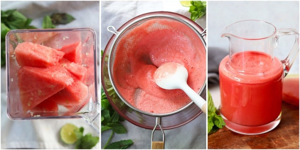 Collage of process shots, showing the cut up watermelon inside the blender, then the juice being strained, then the juice in a small pitcher.