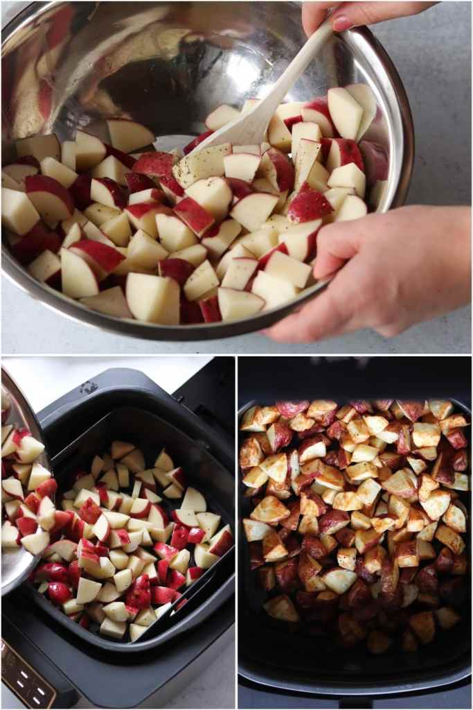 Process shots collage showing the potatoes in a bowl being mixed with oil and seasonings, getting added to the air fryer, then coming out of the air fryer cooked and crispy.