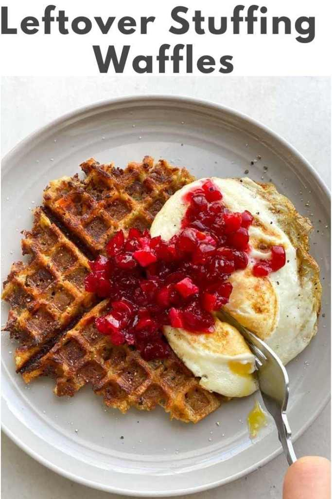 Pinterest graphic with a photo of the finished dish and the words 'Leftover Stuffing Waffles.'