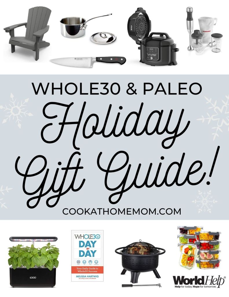 "A collage of images of the gifts recommended with the words ""Whole30 & Paleo Holiday Gift Guide"" for Pinterest."