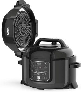A black ninja air fryer and instant pot in one.