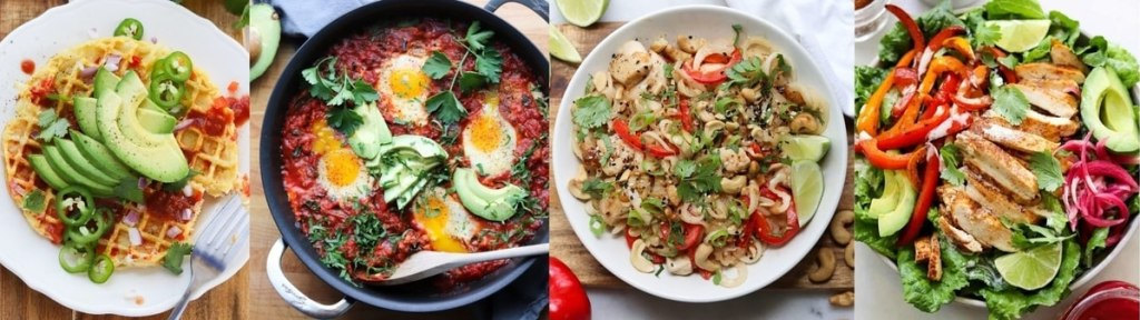 Collage of images showing recipes that use peppers.