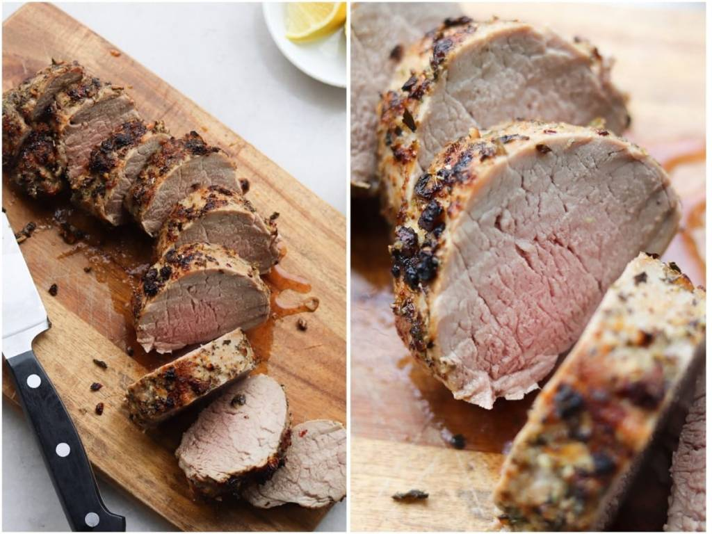 Collage of the cooked and sliced pork tenderloin on a cutting board beside a close up of one slice of pork.