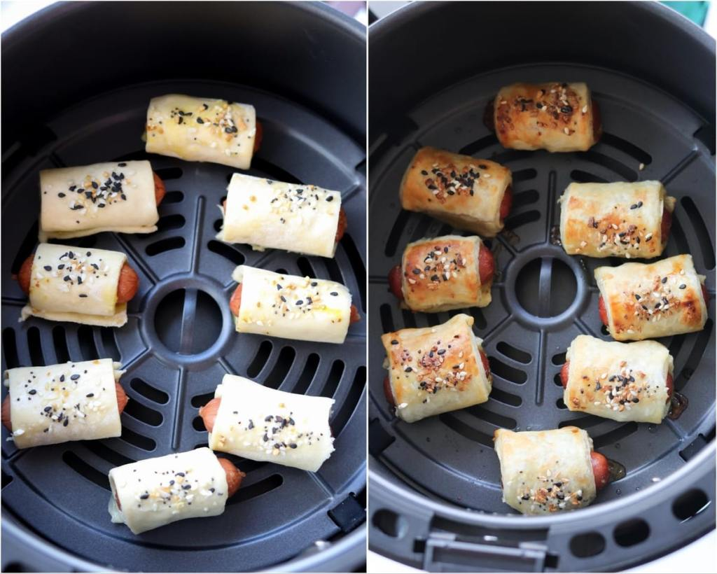 Collage showing before and after cooking the pigs in a blanket inside the air fryer basket.