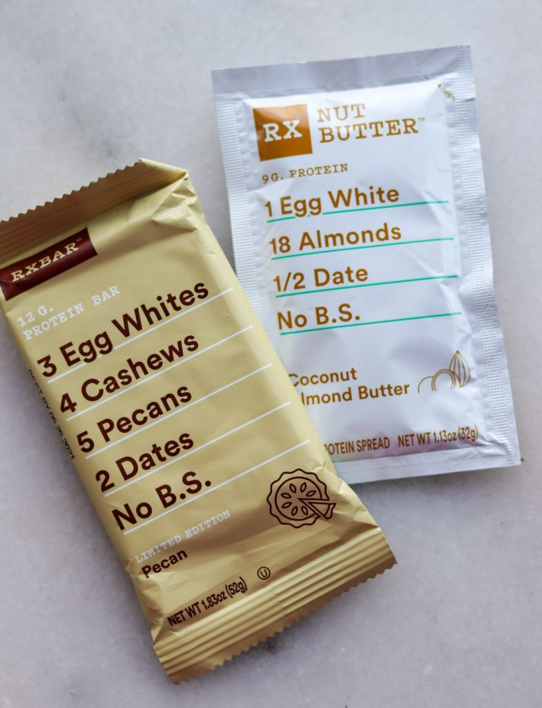 One Rxbar beside one package of rebar nut butter.
