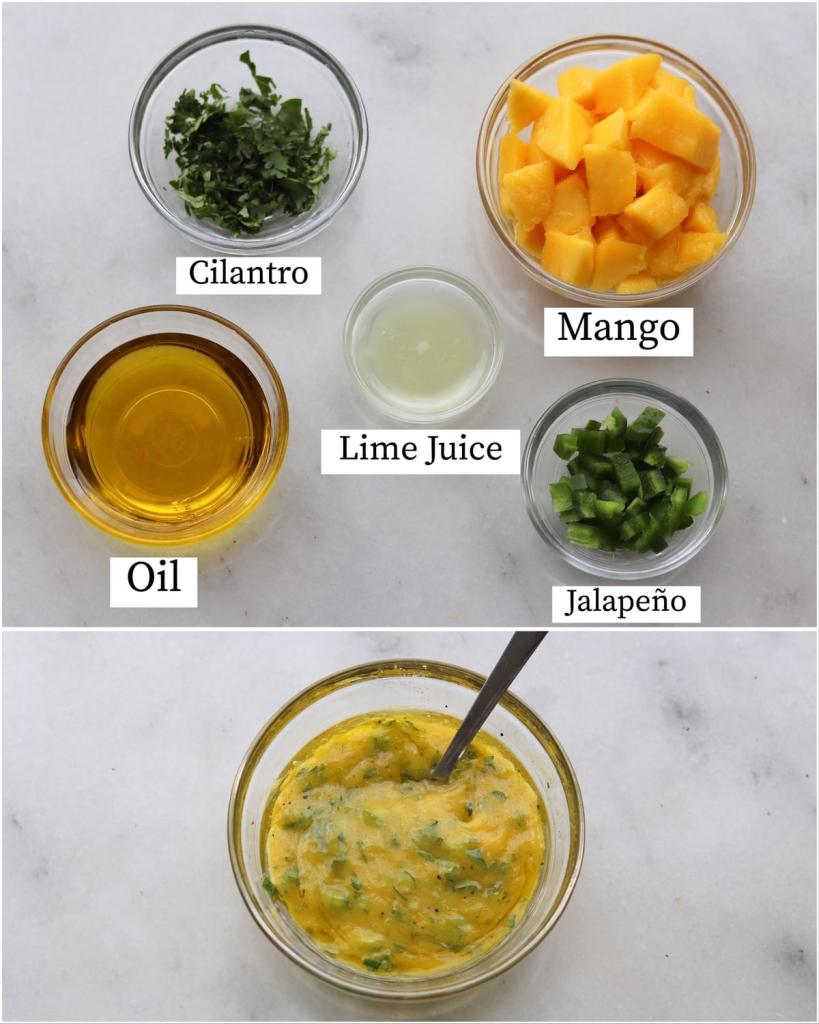 Collage showing the labeled mango marinade recipe ingredients and the finished mixed marinade.