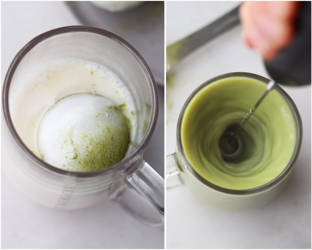 Collage with top down of the bomb set in a mug of hot almond milk, then the milk frother blending the drink.