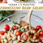 "Collage of process and finished dish shots with the words ""Vegan, 5 Minutes, Cannellini Bean Salad"" for Pinterest."