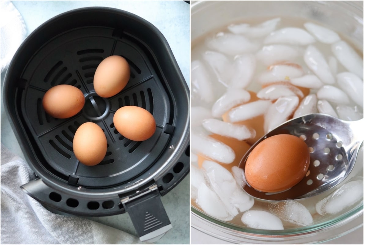 Collage of two images showing the cooking process: Top down of the eggs inside an air fryer basket and the cooked eggs in an ice bath.