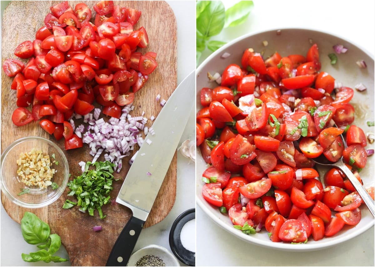 Collage of the bruschetta ingredients chopped on a cutting board, then mixed together in a bowl.