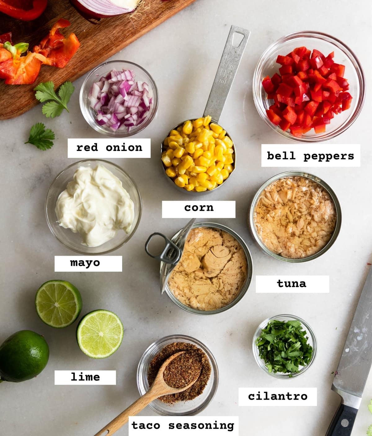All the ingredients laid out on a marble board in individual containers and labeled: red onion, corn, bell peppers, mayo, tuna, lime, taco seasoning, and cilantro.