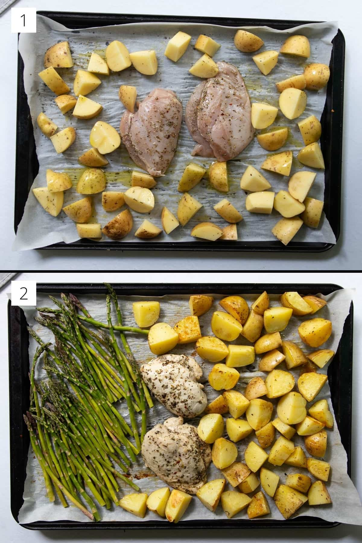 Collage showing the raw chicken and potatoes alone on a sheet pan, then the potatoes and chicken partially cooked with the asparagus added.