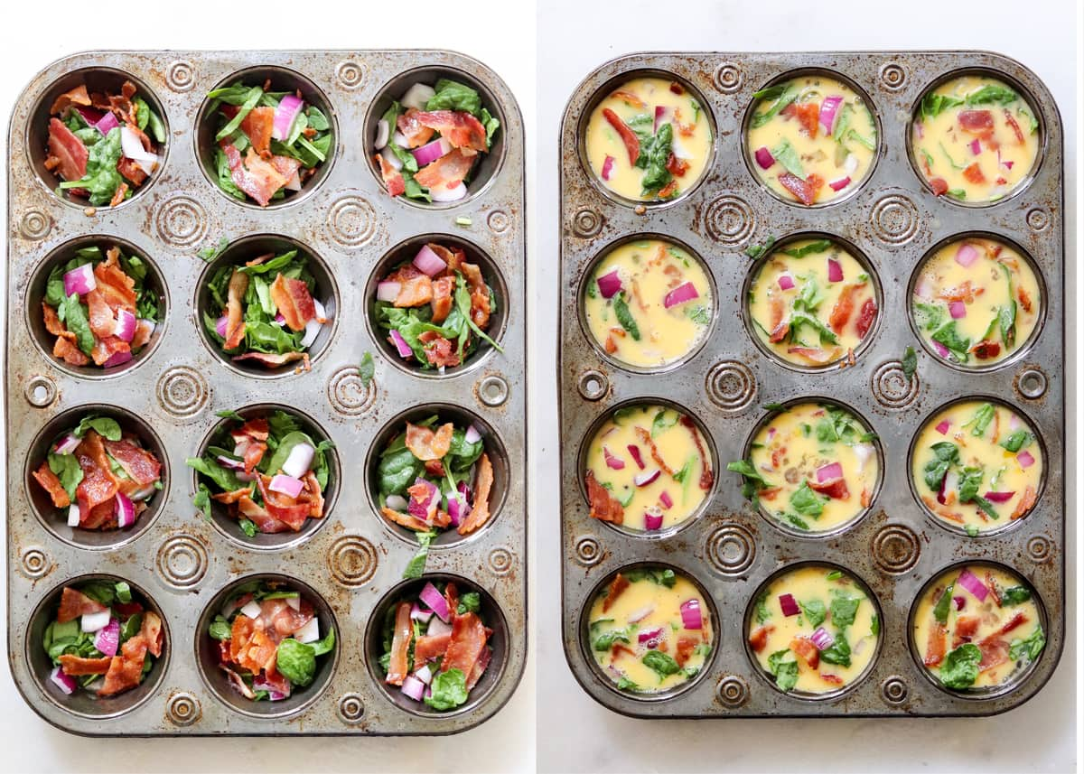 Collage showing the ingredients added to the muffin tin, then the egg mixture poured on top.