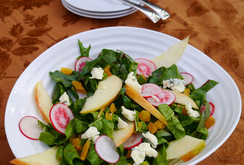 Rainbow Chard Salad with Apple and Radishes