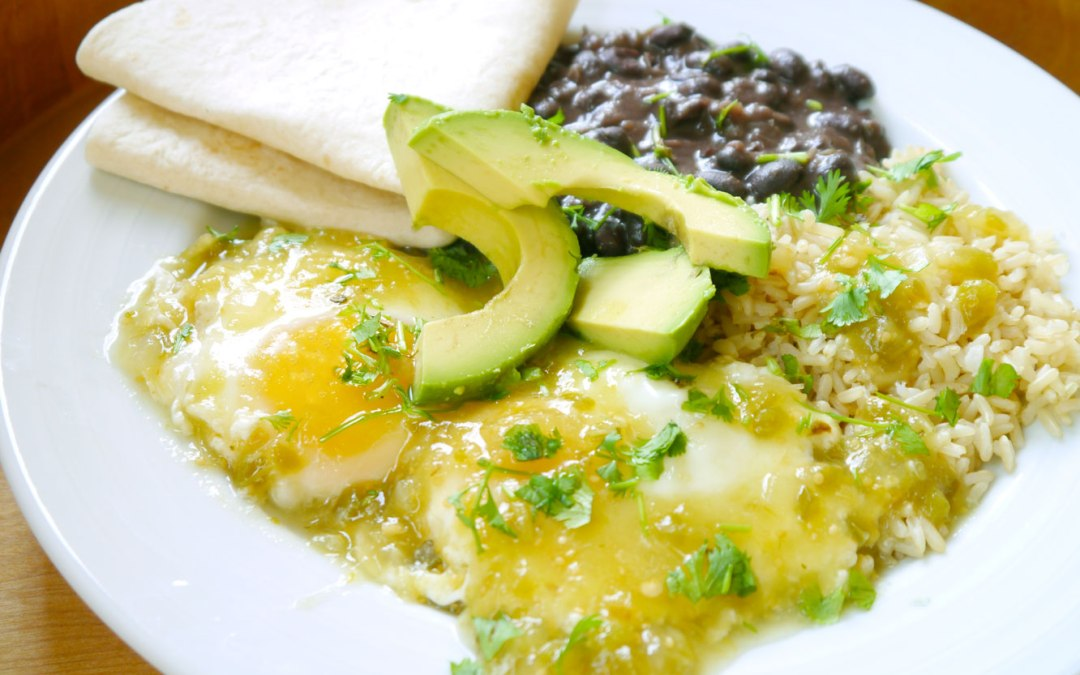 Salsa Verde Poached Eggs with Black Beans and Rice