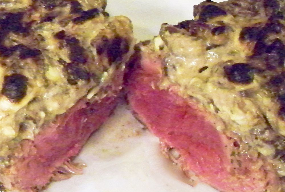 Strip Steaks with Gorgonzola and Balsamic Onion Crust