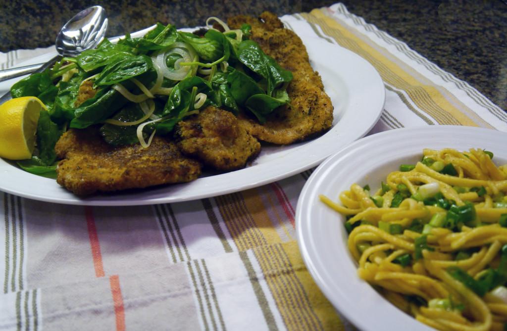 Florentine Pork Schnitzel & Green Onion Spaetzle