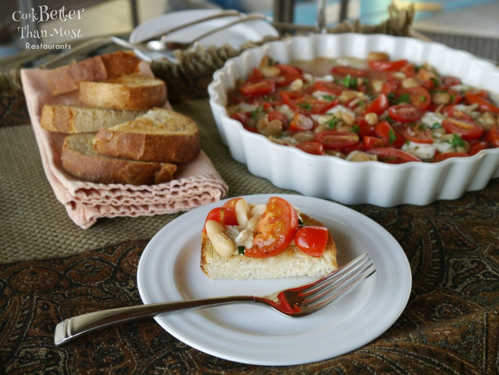 Marinated Cannellini Bean and Tomato Bruschetta