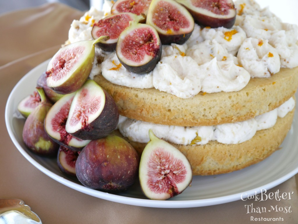 nutmeg wine cake with fig buttercream