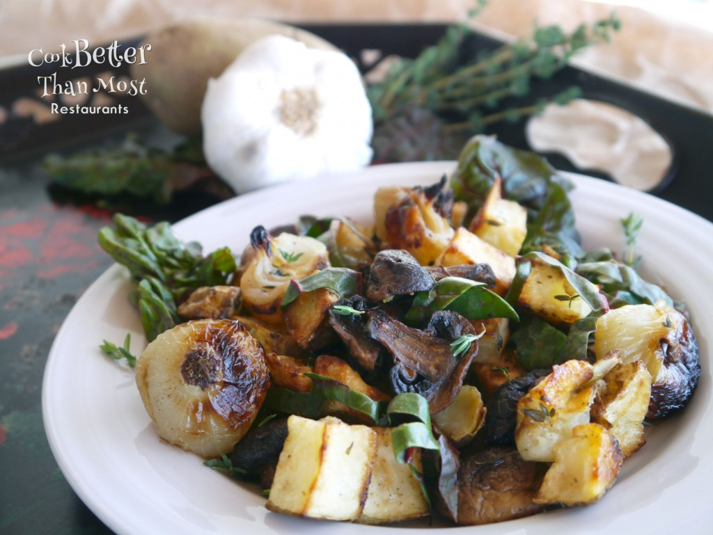 Warm Swiss Chard Salad with Roasted Potatoes and Cipollini Onions